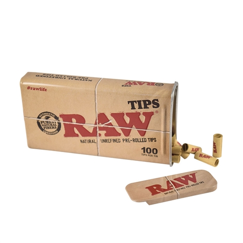 RAW Prerolled Tips 100stk I Metal Bøtte